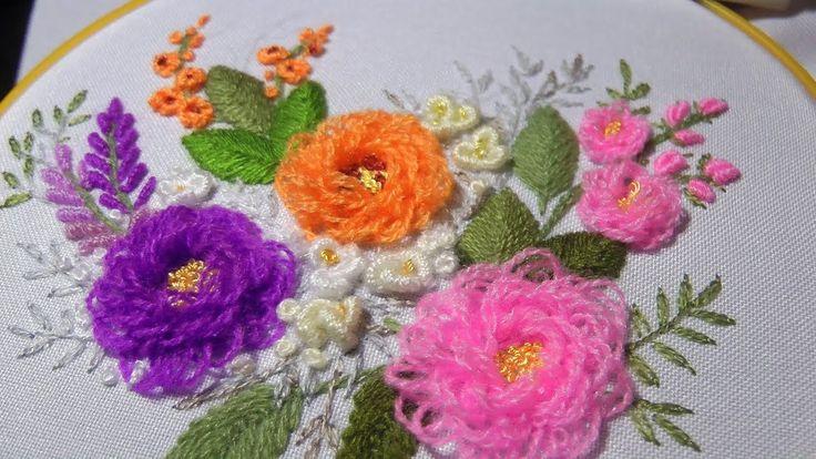 ВЫШИВКА:  ЦВЕТЫ \  EMBROIDERY: FLOWERS Turkish stitch