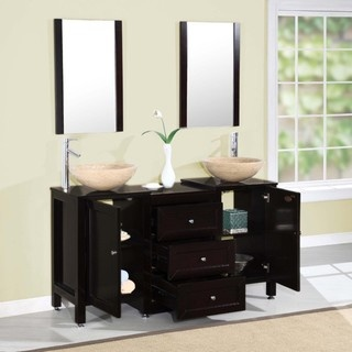 @Overstock - Modern styling lends a unique look and feel to this sleek vanity. With a travertine vessel sink and coordinating mirror, this vanity has a smooth espresso finish.http://www.overstock.com/Home-Garden/Silkroad-Exclusive-56-inch-Modern-Bathroom-Stone-Vessel-Sink-Vanity/6318836/product.html?CID=214117 $1,621.99