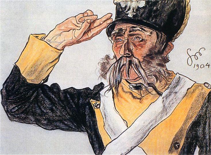 Ludwik Solski jako stary wiarus w Warszawiance. Pastel z 1904 roku.