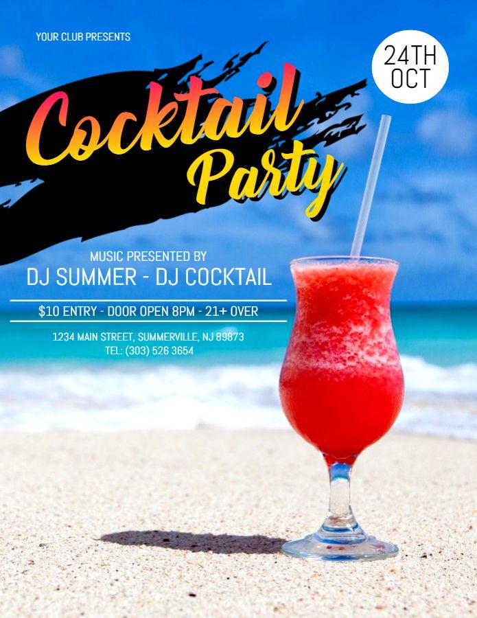 Printable cocktail bar DJ party invitation flyer template