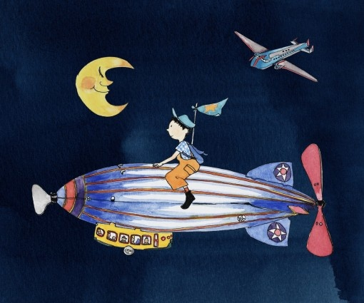 Yukie Yasui - Zeppelin Fly Me to the Moon     #art for #kids from #littlecollector #home