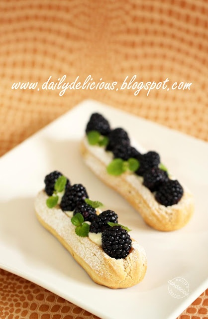 Blackberry added to the classic eclair  makes for a fresh and flavorful surprise