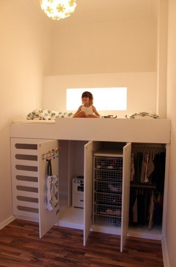 "Ryders small room idea ""Great idea to incorporate into a tiny house plan. Use as closet space or even put washer/dryer under it."""