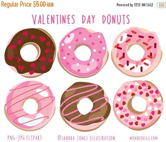 Valentines Day Donuts  ************************* High resolution (300 dpi) .png & jpg files! Each image is sized @ 300 dpi, around 6inches. PNG files