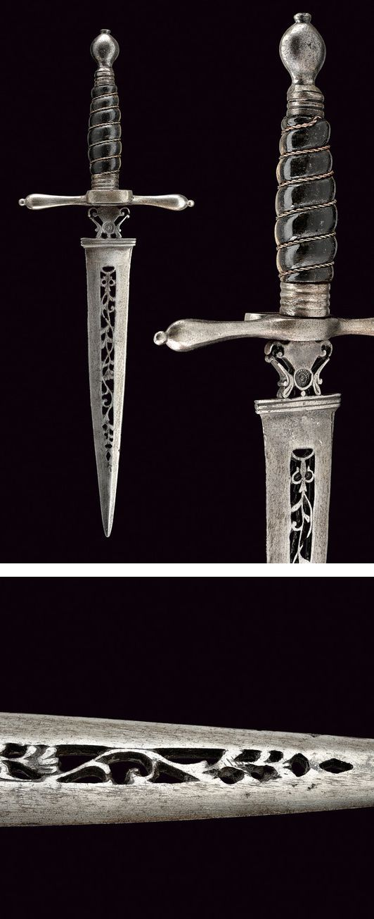 A left hand dagger with pierced blade,    provenance: Germany dating: 18th Century.