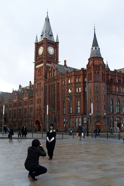University Square, Liverpool, in the background is the Victoria Building,1888, by Liverpool architect Alfred Waterhouse (who also designed the Natural History Museum building in London)