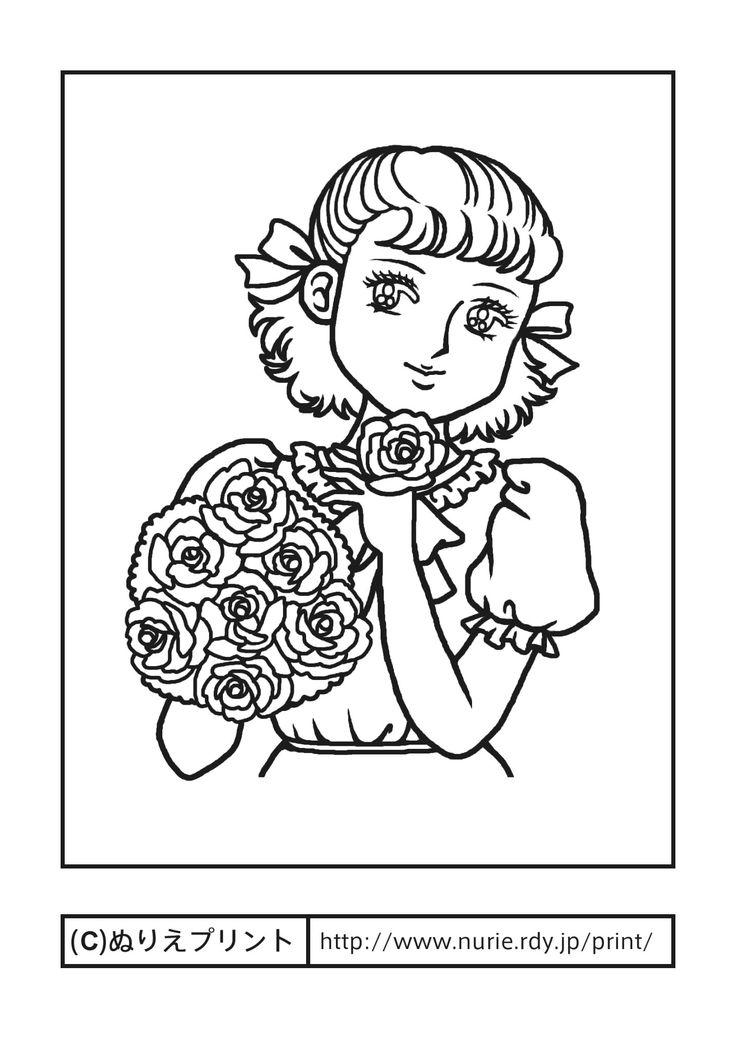 花と少女1(主線・黒)/少女/おしゃれ/昔の塗り絵【ぬりえプリント】