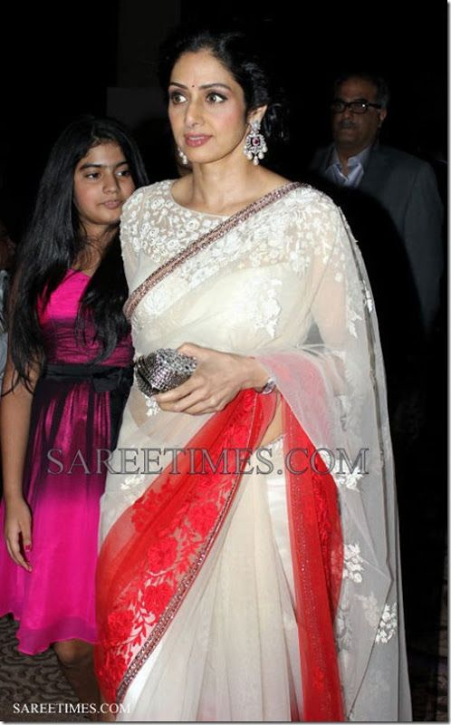 sridevi in white with red