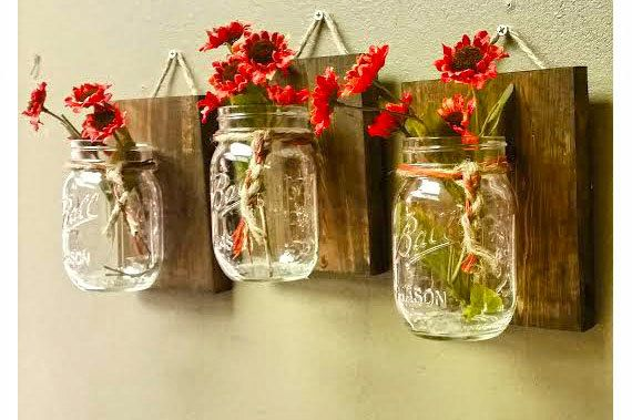 Mason Jar Wall Decor Pinterest : Mason jar wall decor set of pallet wood country