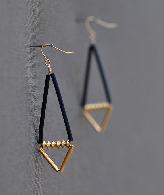 Hardware Earrings LAST PAIR Black and Gold Geometric by knobbly
