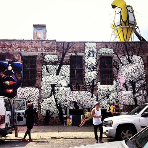 The Bushwick Collective is located along Troutman Street and Saint Nicholas Avenue in Brooklyn, and it's comprised of many, many walls that were bought out in order to embrace creative art, all while giving giving back to the community