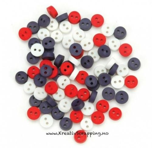 BUTTONS - DRESS IT UP JUL 1664 - TINY PATRIOTIC BUTTONS Pakke med ca 40 stk.   JESSE JAMES-Dress It Up Button Embellishments. Tiny embellishments for adding dimension to all of your scrapbook pages, cards, invitations and craft projects. Button embellishments come in a variety of shapes and sizes and some even feature glitter. Size, shape and number of embellishments per package varies by theme.