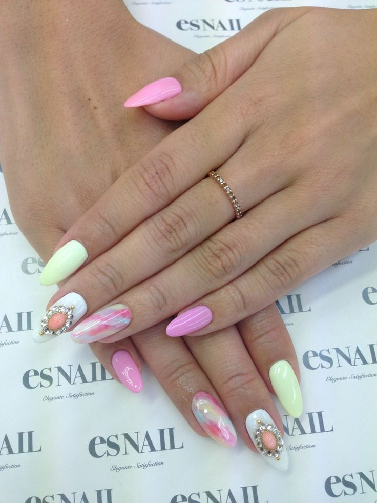 pastel almond shaped nails-so cute! | Nails | Pinterest ...