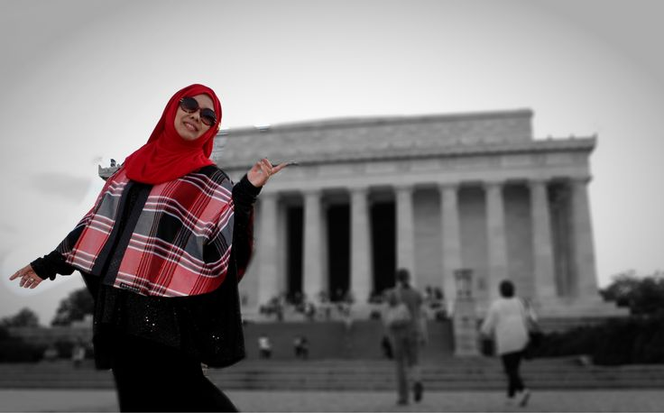 "Tartan motives cape from Indonesia local material ""tenun from Makassar -South Sulawesi""photos taken at Washington DC"