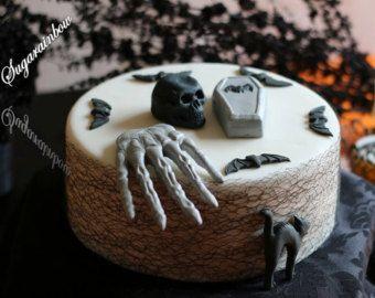 Decorazioni di torta di Halloween commestibili di zucchero bara gatto pipistrelli mano teschio (3D) torta cupcake toppers decorazioni