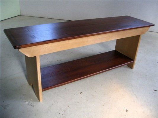 Custom Made Pine Plank Bench With Shelf