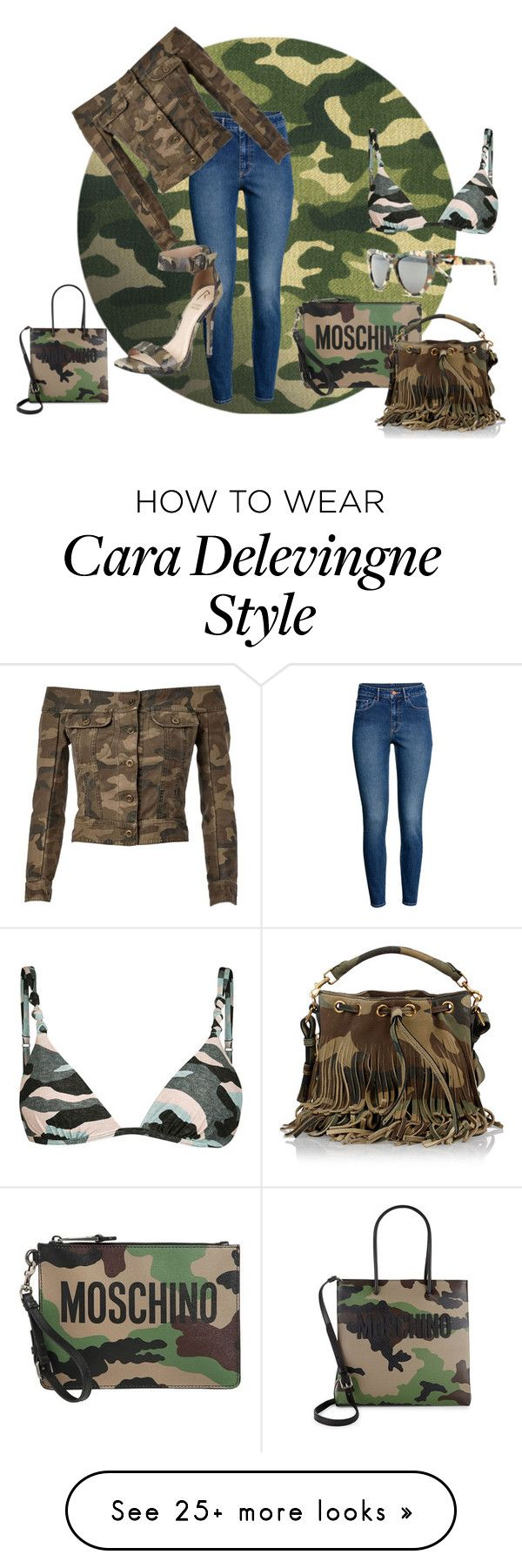 """camouflge"" by mimmiandkinkistatementjewelry on Polyvore featuring H&M, Faith Connexion, River Island, Moschino, Prism and Yves Saint Laurent"