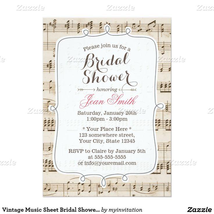 Wedding Altar Music: Vintage Music Sheet Bridal Shower Invitations
