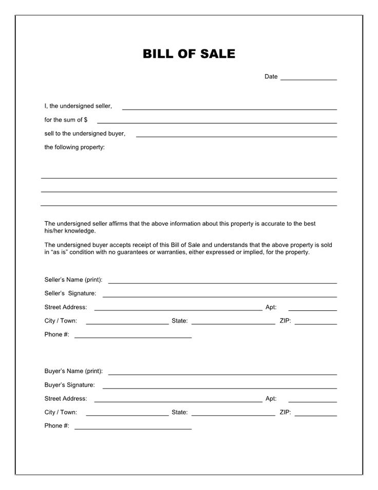 Free Printable Blank Bill of Sale Form Template - as is bill of sale