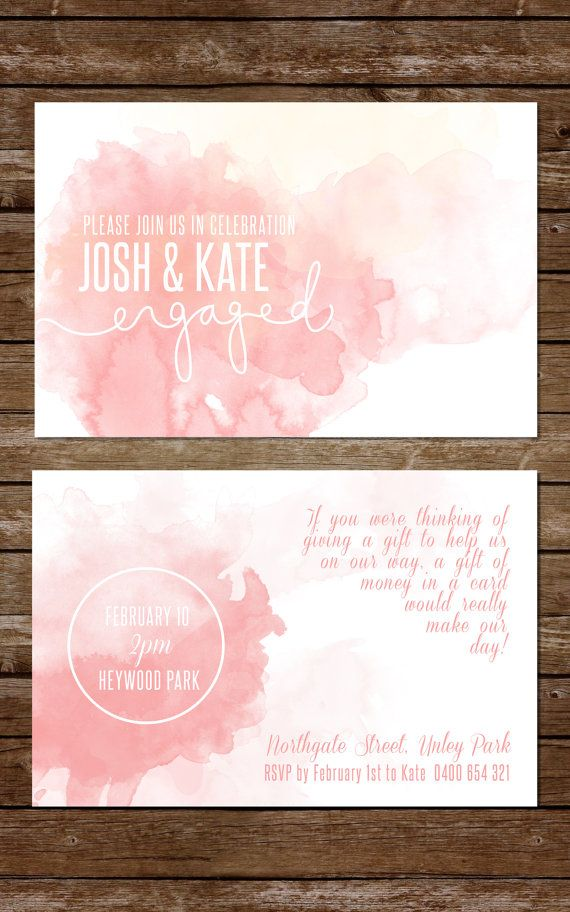 Watercolour Engagement Party Invitation, Peach Wedding, Summer Wedding  Invitation
