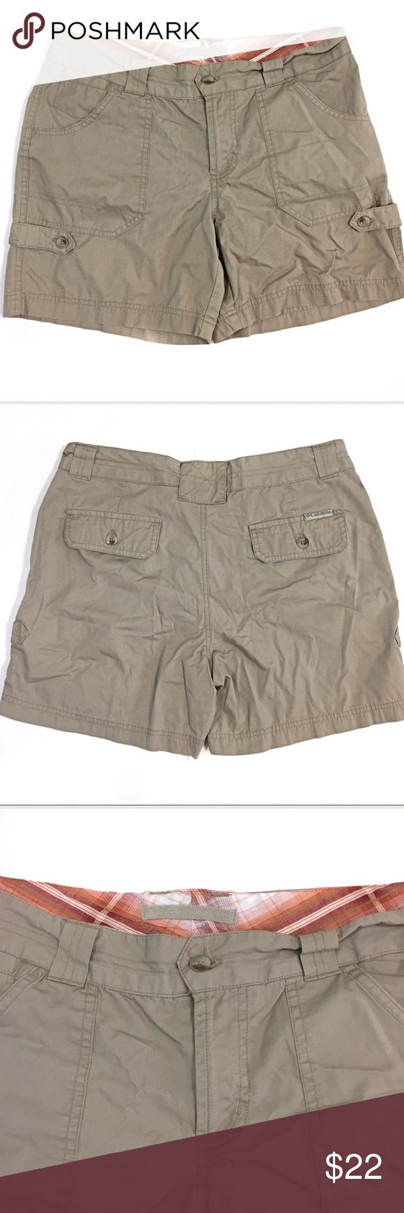"Columbia Sportswear Tan Khaki Shorts Size 6 Columbia Sportswear shorts size 6.  Inseam 6"", waist flat across approx. 15.5""  Button and zipper closure.  Multiple pockets.  100% cotton. Columbia Shorts Cargos"