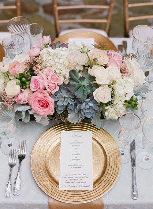 Ultra-Romantic Rainy Day Wedding at a California Villa, Gold Chargers | Brides.com