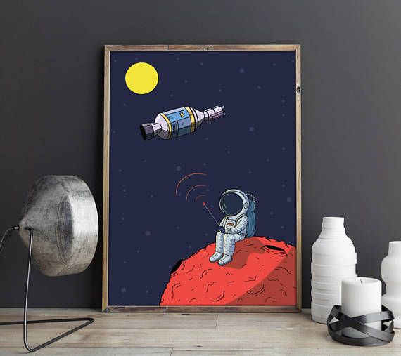 Galaxy Print, Space Print, Space Poster, Astronaut Print, Spaceman Art, Boys Room Wall Decor, Home Decor, Space Art, Instant Download