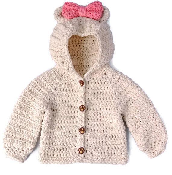 Crochet Baby Girl Sweater Bear Hood Baby Sweater by YarnForBaby, $40.00