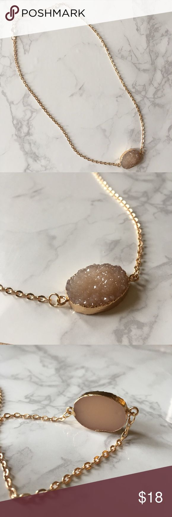"Blush Druzy Stone Gold Chain Necklace Blush pink druzy crystal stone necklace. Brand new with tags. 22"" length chain. ASOS Jewelry Necklaces"