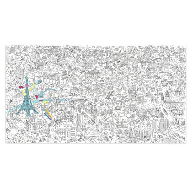 Giant coloring page - BIG PARIS! www.omy.fr