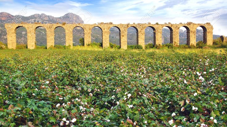 The ancient ruins of an Aqueduct at Aspendos in Antalya Turkey