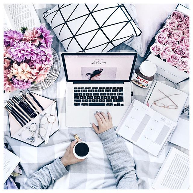 My cozy little workspace  Flowers and coffee in bed always make for the best end to a busy day  #flatlay #flatlayapp #flatlays www.theflatlay.com