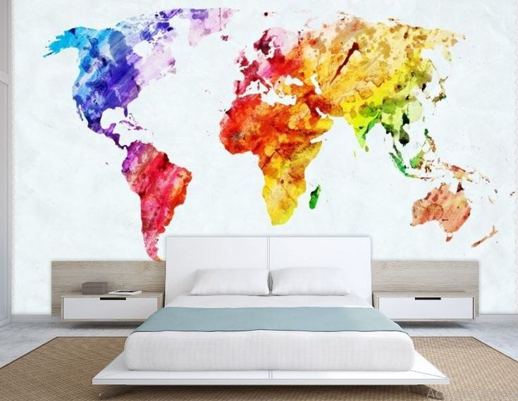 The 25 best world map decal ideas on pinterest wall stickers world map wall mural painting map wallpaper colorful world map self adhesive sciox Choice Image