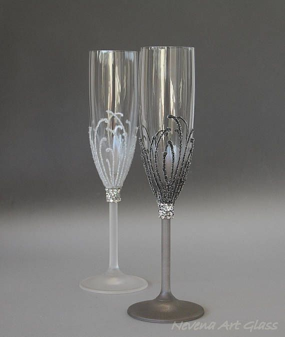 Wedding Glasses Champagne Flute Winter Wedding Silver