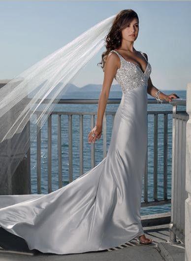 V-neck Heavily Beaded Backless Sheath Satin Wedding Dress #david_tutera_wedding_dresses #champagne_wedding_dresses #wedding_party_dresses