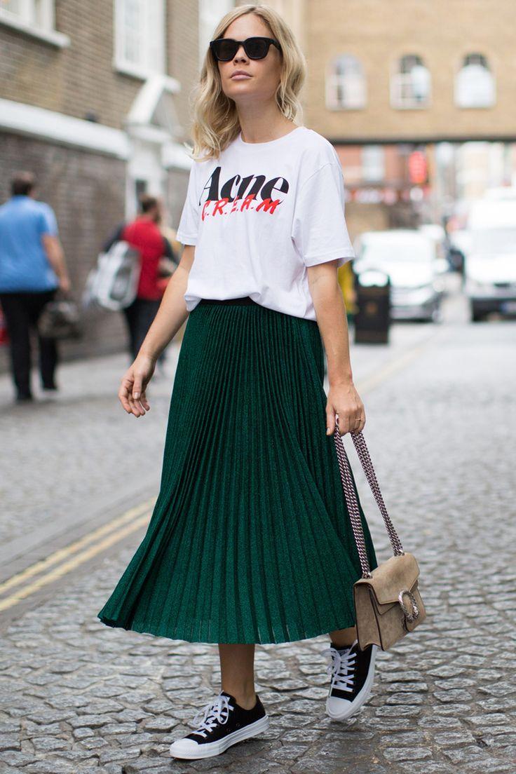 Styling-Tipps: 7 coole Alternativen zum Sommerkleid | Looks moda, Saias midi plissada, Saias da moda