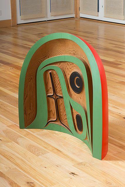 Robert Davidson: Rainbow, 2006, Robert Davidson (Haida, Masset, Eagle Clan), b. 1946. Acrylic on red cedar, 48 x 48 x 20 in. Private Collection. © Robert Davidson. Photo by John Robert Williams. Abstract Impulse | National Museum of the American Indian
