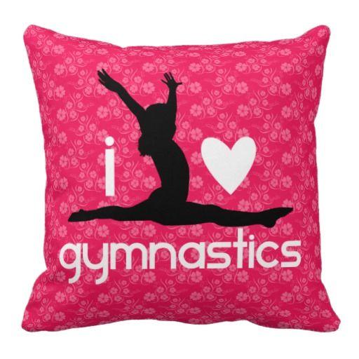 I Heart Gymnastics Floral Pillow #ilovegymnastics #gymnastics #giftforgymnast
