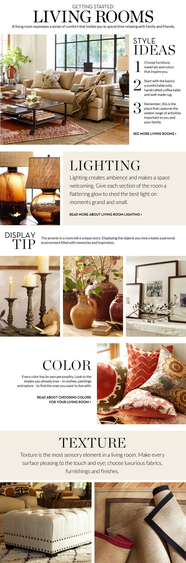 Living Room Inspiration & How to Decorate Living Room | Pottery Barn  Red and brown and yellow colors