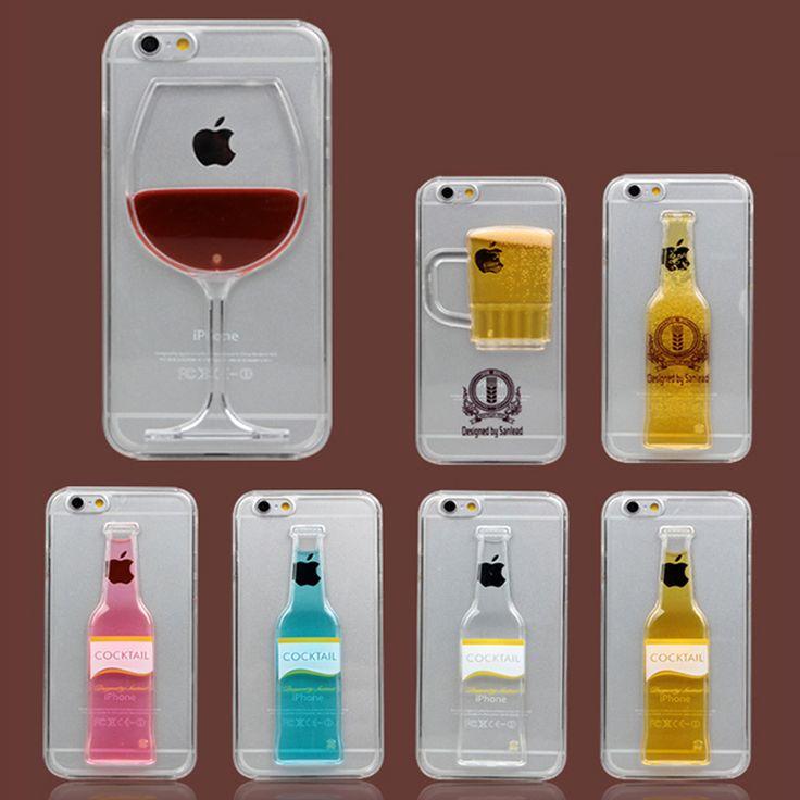 新しいファッション液体流砂ドリンクカクテル赤ワインゴブレットビールボトル砂時計クリアケースiphone用6 6 s 6プラス5 5 s seケース