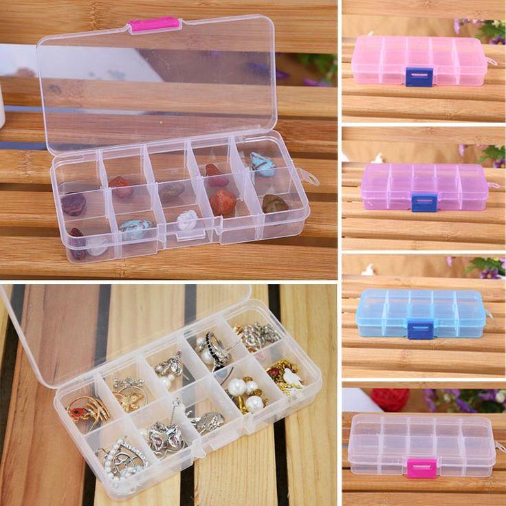 4 Colores 10 Grids Ajustable Herramienta de La Joyería de Cuentas de Caja de Pastillas organizador Caja De Almacenamiento Caja de Uñas de Arte Consejo de Plástico transparente duro y WL11