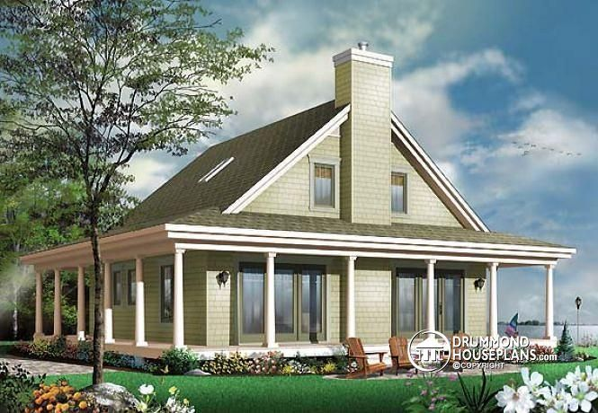 W3506 country cottage with wrap around porch open floor for Open floor house plans with wrap around porch
