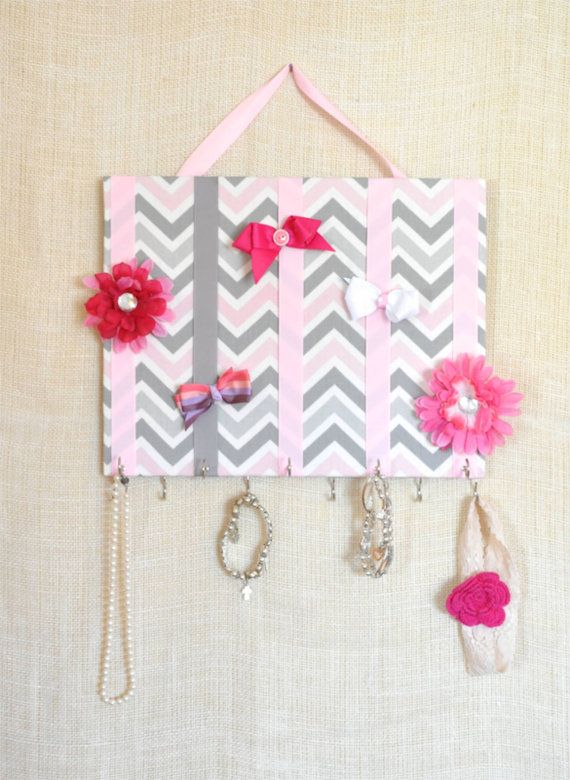 JEWELRY ORGANIZER, Jewelry Bow Board- Hair Bow Organizer- Pink, White and Gray Chevron- 11x14 inches, 11 Large Hooks on Etsy, $21.76