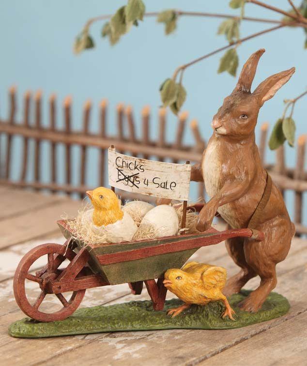 Chicks for Sale Rabbit with Wheelbarrow from TheHolidayBarn.com