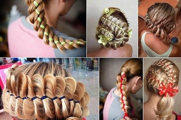 You can customize any braid with a little ribbon and match any outfit just by adding some color to her hair. Try it out with the Four-Strand Ribbon Braid from All Day Chic. #Girls #Hairstyles #Braids