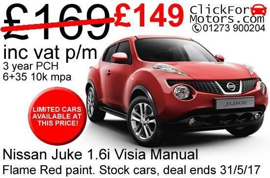 ENDS 31/5/17. Personal Lease – Nissan Juke 1.6i Visia Manual. Find out where we are. Manufacturer Nissan Model Juke. This is a lease contract, you will not own the car at the end of the contract. All applications are subject to a finance application, and acceptance by an underwriter. | eBay!