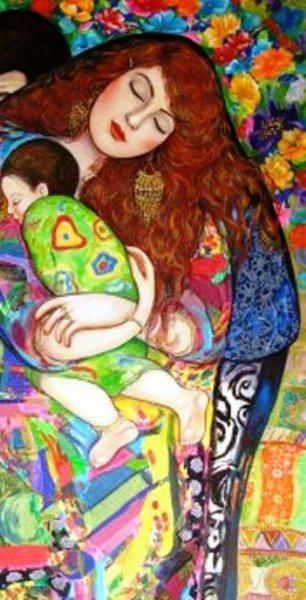 Mother asleep with her son, by the Iraqi artist Wasma'a Al-Agha.