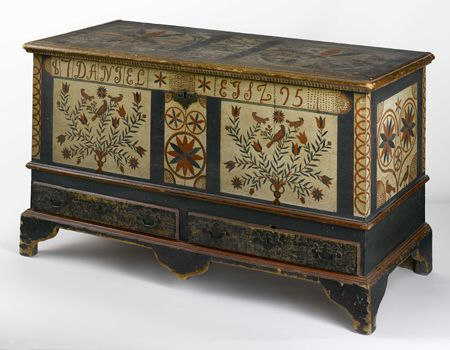 Dower chest Pennsylvania, Probably Lehigh County, 1795 Jane Katcher Collection of Americana