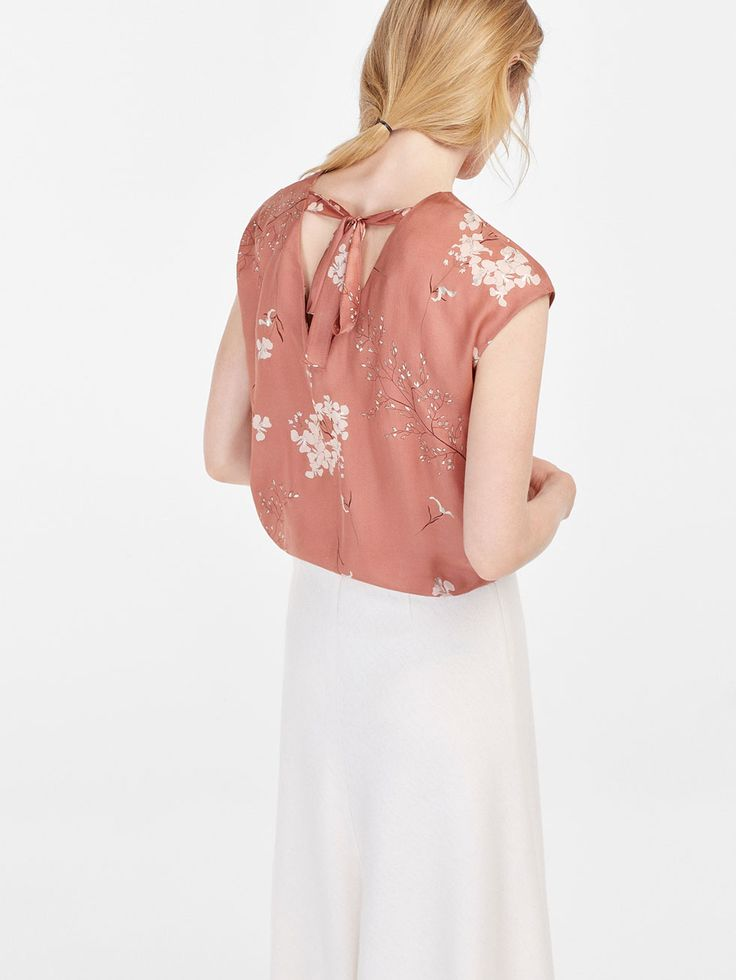 Massimo Dutti printed top with silver details