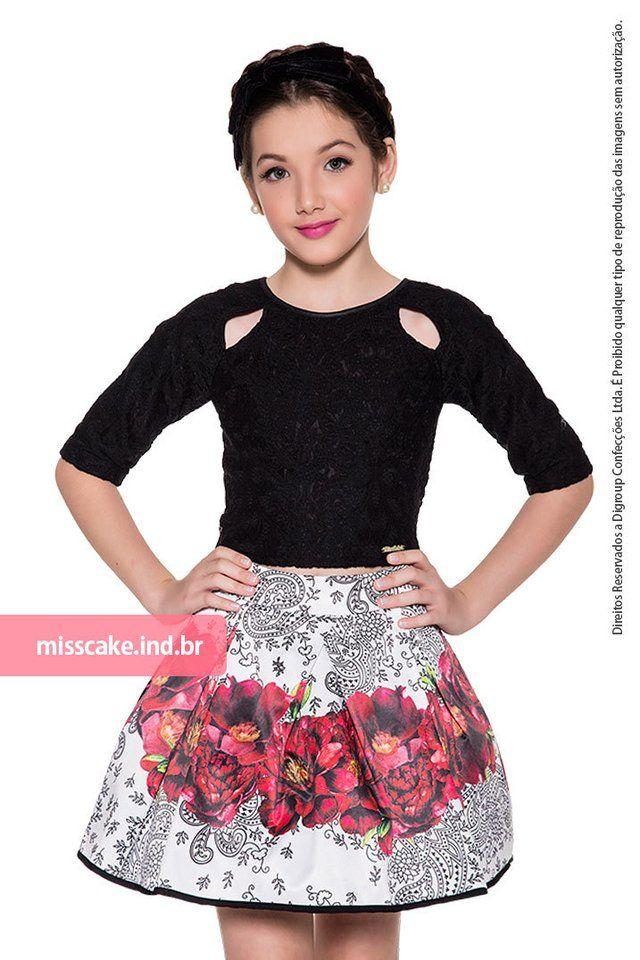 Shorts Infanto Juvenil e BlusaMiss Cake  Conjunto - Saia infantil com blusa Miss Cakecom 2 Peças: Blusa Infantil Miss Cake Moda Infanto Juvenil Sa...